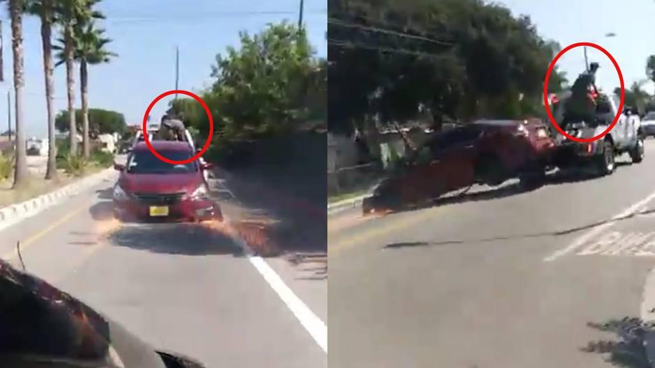 Wie im Actionfilm: Auto wird abgeschleppt - aber der Besitzer will seinen Wagen partout nicht hergeben