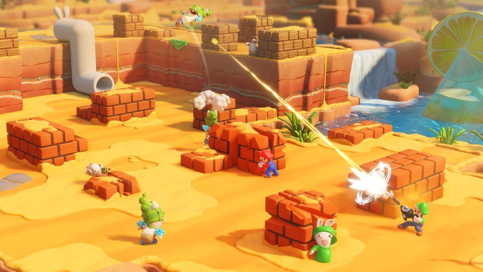 Eine Kampfszene in Mario & Rabbids Kingdom Battle