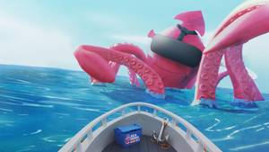Ein grünes Sumpf-Monster im VR-Spiel Sea Hero Quest wird mit einem Hot Dog beschossen