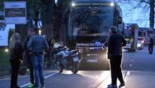 Der Mannschaftsbus von Borussia Dortmund am Tag des Sprengstoff-Anschlags