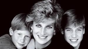 Diana mit Söhnen Harry und William