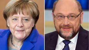 Kanzlerin Angela Merkel und SPD-Herausforderer Martin Schulz
