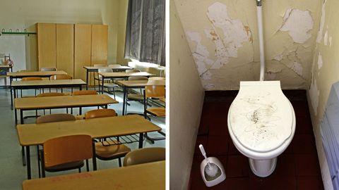 Ein Klassenzimmer und eine veraltete Schultoilette