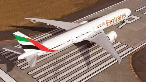 Eine Maschine vom Typ Boeing 777-300 von Emirates Airlines, die im Landeanflug auf Genf die Wirbelschleppe auslöste.