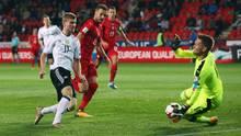 Timo Werner erzielt das 1:0 in der WM-Qualifikation für Deutschland gegen Tschechien