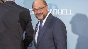 Martin Schulz beim TV-Duell: angriffslustig, ja. Aber laut Umfragen eher nicht der Sieger.