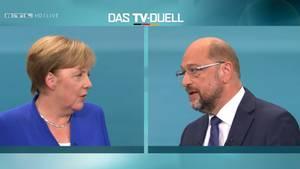 Ein glanzloses Duell: Kanzlerin Angela Merkel und ihr Herausforderer Martin Schulz