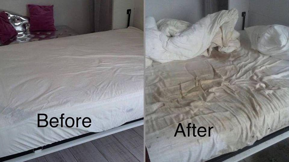Das Bett kann man nur noch wegwerfen.
