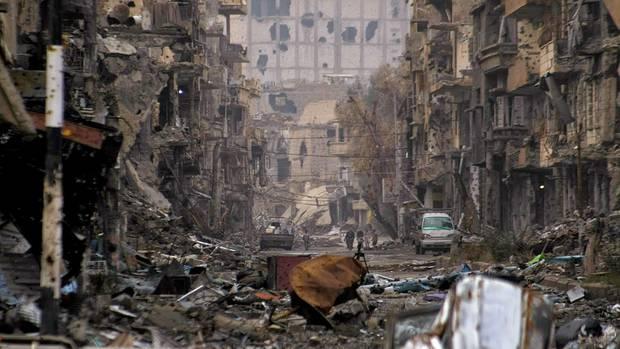 Die Stadt ist ein Trümmerfeld.