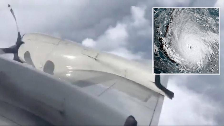 "Flugzeug fliegt mitten durch den Hurrikan ""Irma"""