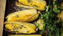 Mais, mit Würzbutter bestrichen und in den Hüllblättern im Ofen gegart