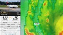 """Satellitenbilder von Flightradar 24 zeigen wie die Delta-Maschine sich zwischen den Ausläufern des Hurrikans """"Irma"""" bewegt"""