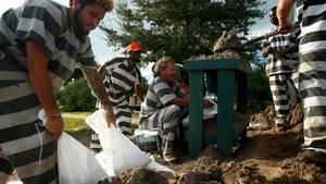 """Florida: Strafgefangene befüllen Säcke mit Sand, um den Bewohnern bei den Vorbereitungen auf Hurrikan """"Irma"""" zu helfen"""