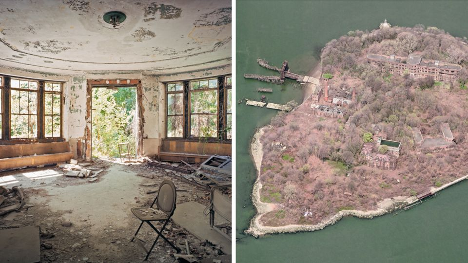 Collage aus einer verlassenen Wohnung und der North Brother Island von oben.
