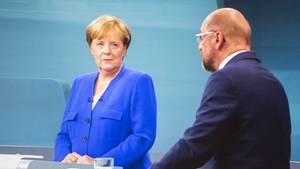 Angela Merkel und Martin Schulz beim TV-Duell