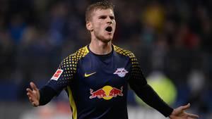 War zu schnell für die Hintermannschaft des HSV: Timo Werner von RB Leipzig