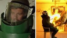 Joko im Sicherheitsanzug - dann kam die Feuerwelle