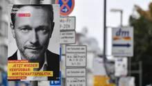 Wahlplakat der FDP mit Parteichef Christian Lindner