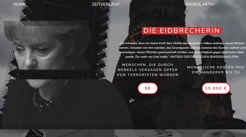 Die Anti-Merkel-Webseite der AfD wirkt düster