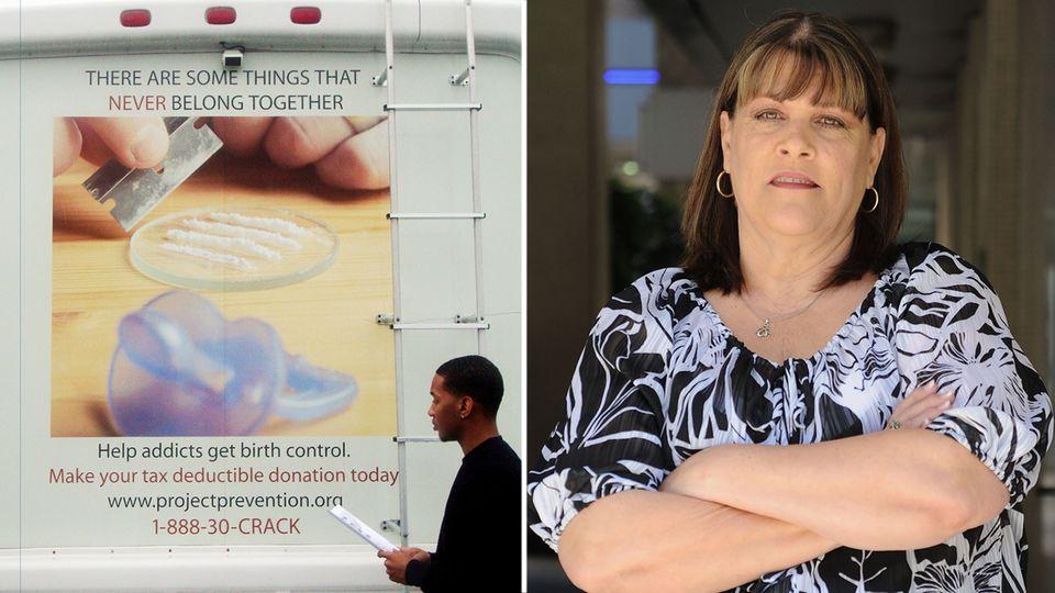 """Barbara Harris und ihr Wohnmobil: Das """"Project Prevention"""" will verhindern, dass Drogenabhängige Kinder bekommen"""
