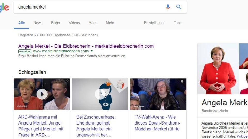 Wahlkampf: AfD stellt düstere Anti-Merkel-Webseite ins Netz - und kauft beste Position bei Google dafür