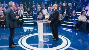 """Martin Schulz neben Moderator Peter Frey: """"Themen die zuvor unter den Tisch gefallen sind"""""""