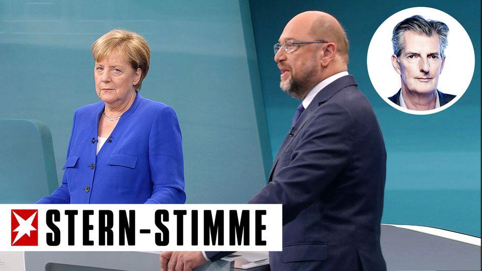 Angela Merkel schaut in die Kamera während des TV-Duells mit Martin Schulz