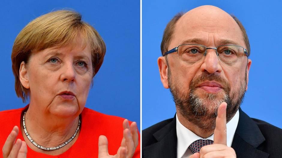 Eine Bild-Kombo zeigt Angela Merkel und Martin Schulz. Sie trägt einen roten Blazer, er einen schwarzen Anzug mit Krawatte