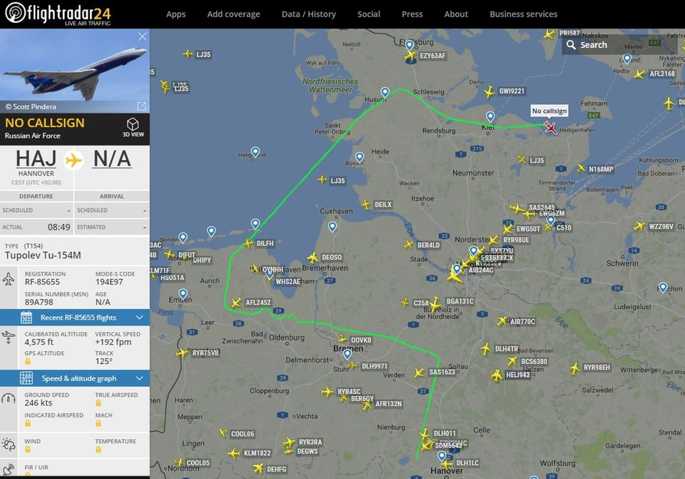 Die Flugroute der russischen Tupolev Tu-154 am 14. September 2017 über Norddeutschland