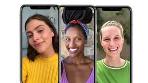 Auf drei iPhone X sind Frauenbilder zu sehen, der Hintergrund unscharf gestellt wurde