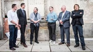 """Stern-Reporter Holger Witzel (r.) und """"seine"""" Kandidaten im Wahlkreis 70 Wittenberg-Dessau"""