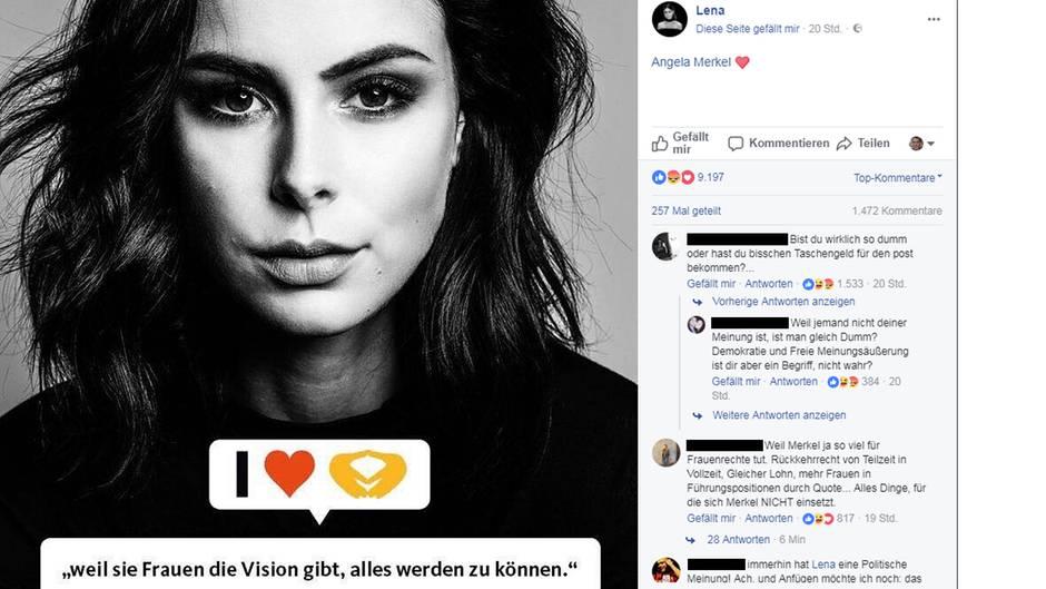 Unterstützung für Angela Merkel - Facebook-Post von Lena Meyer-Landrut