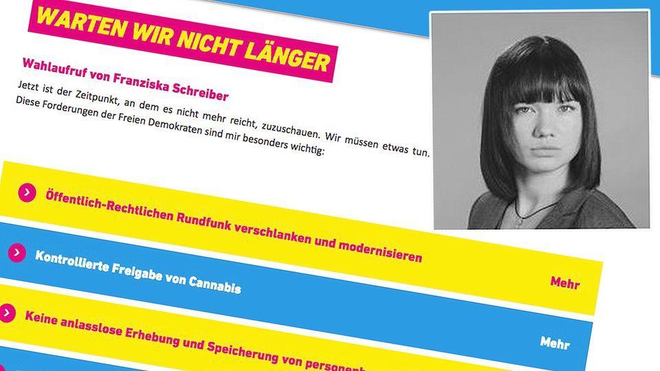 Franziska Schreiber von der AfD ruft dazu auf, die FDP zu wählen