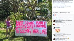 Mit diesem Plakat machte Kynse Leigh Agles auf ihre Situation aufmerksam