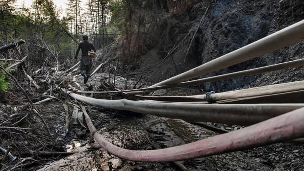 Wie gigantische Schlangen ziehen sich die Feuerwehrschläuche der Mammutjäger in die Hügel der Taiga. Einige liegen dort schon seit Jahren. Weil die Abhänge am Ufer bereits ausgewaschen sind, müssen die Jäger immer tiefer ins Land hinein