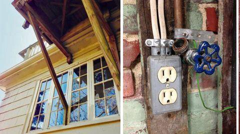 Collage: Holzhaus, offen gelegte Steckdose