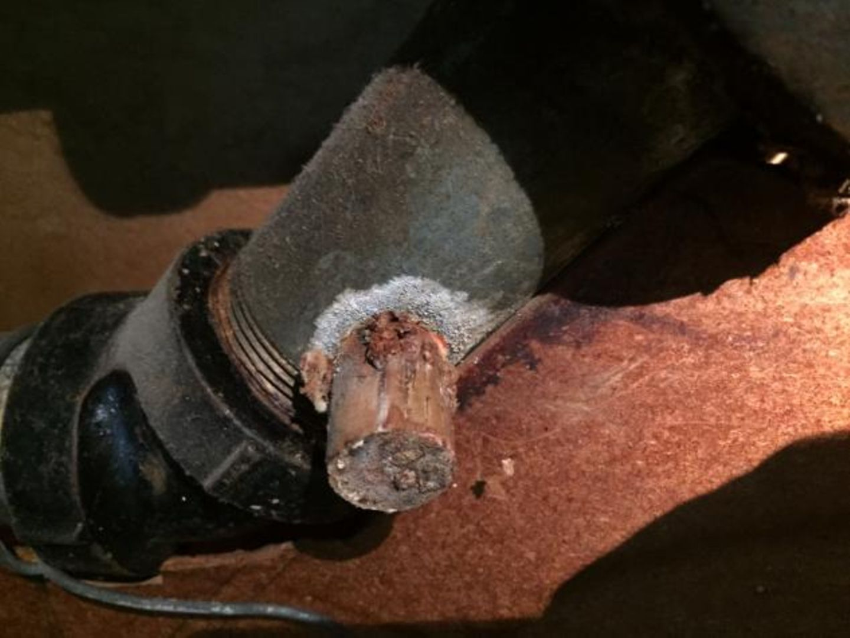 So ein Korken hält eine Weinflasche jahrelang dicht. Warum sollte er bei einer Wasserleitung versagen? Fund von Jim Young aus Cleveland.
