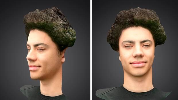 Mit der 3D-Scan-Funktion kann man das eigene Gesicht erfassen und dann als 3D-Bild frei hin- und herbewegen. Das funktioniert leider nicht immer so gut wie in Sonys Beispielbildern.