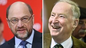 Für SPD-Kanzlerkanditat Martin Schulz (l.) ist die jüngste Umfrage ein Desaster,AfD-Spitzenkandidat Alexander Gauland dagegen hofft auf ein Traumergebnis bei der Bundestagswahl am Sonntag.