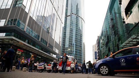 Russland: In Moskau wir nach einer Bombendrohung ein Einkaufszentrum evakuiert.