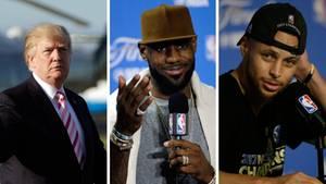 US-Präsident Donald Trump (l.) und die beiden NBA-Profis LeBron James (Mitte) und Stephen Curry