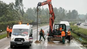 Der 46-jährige Arbeiter starb bei Sondierungsbauarbeiten wie diesen hier auf der A3 bei bei Ringenberg (NRW) vor einigen Tagen