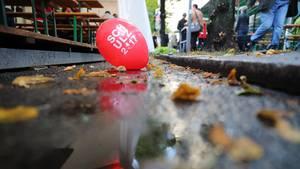 """Erste Meldung zur Bundestagswahl: Ein Luftballon mit der Aufschrift """"Schulz 2017"""""""