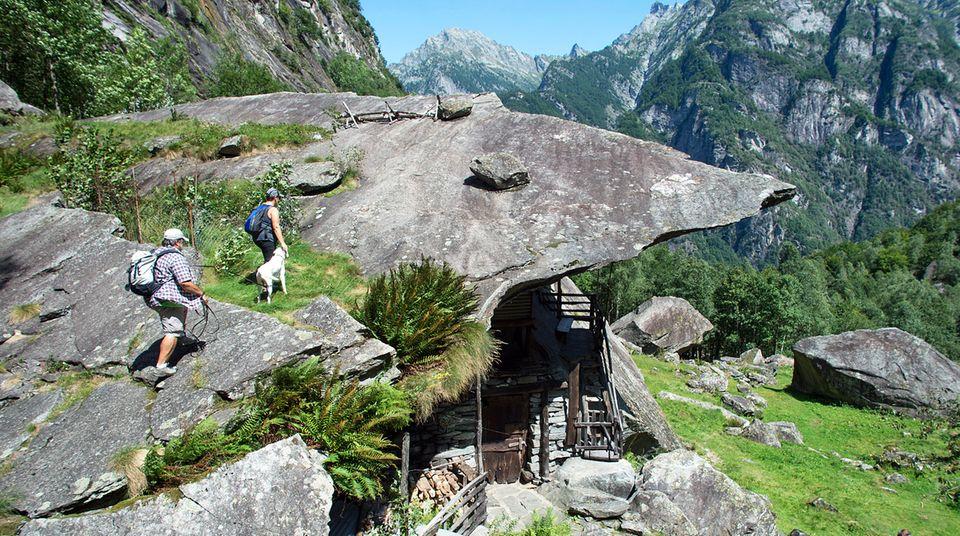 Unter einer riesigen Granitplatte im Tessiner Bavonatal entstand die natürliche Felswohnung mit Stallungen, eine sogenannte Splüi.