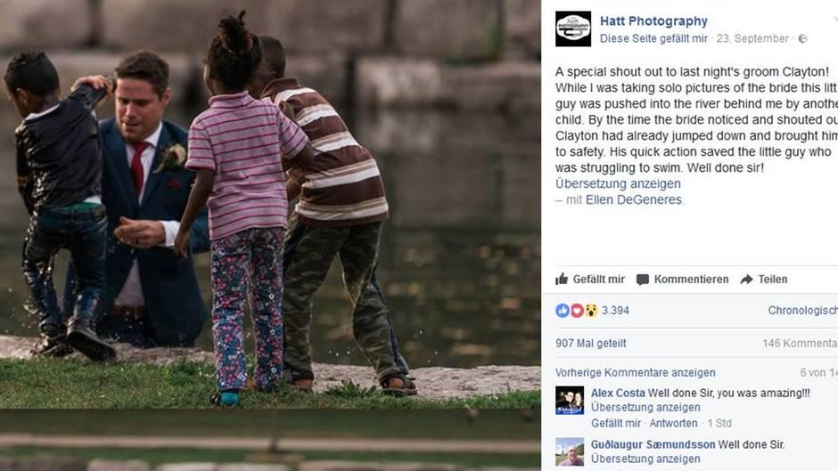 Fotoshooting mit dramatischer Wendung: Bräutigam rettet Jungen das Leben