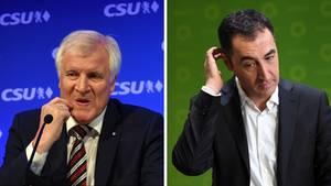 Auch Bayerns CSU-Ministerpräsident Horst Seehofer (r.) und Grünen-Spitzenkandidat Cem Özdemir müssen sich für Jamaika einigen