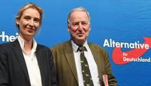 Die AfD-Fraktionsvorsitzenden Alice Weidel und Alexander Gauland mit freundlichem Gesicht vor blauer Wand