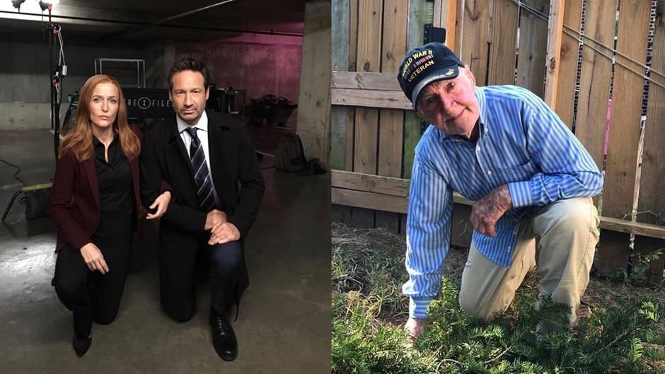 Streit um Geste: Während US-Nationalhymne: 97-jähriger Veteran kniet gegen Trump