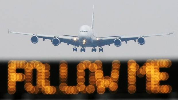 A380 im Landeanflug auf den Frankfurter Flughafen