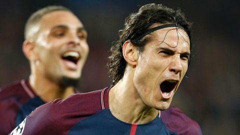 Edinson Cavani von Paris St. Germain jubelt über sein 2:0 gegen dem FC Bayern in der Champions League